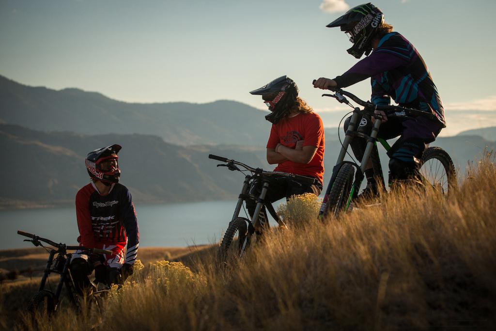 Brandon Semenuk, Matt Miles, and Graham Agassiz on set of Brandon Semenuk's Rad Company in Kamloops, BC